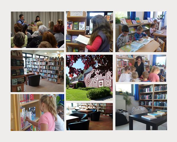 Könyvtárt bemutató képek montázsa